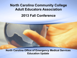 NC Office of Emergency Services – Update
