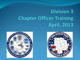 Division 89 Chapter Officer Training March 31, 2012