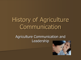 History of Agriculture Communications