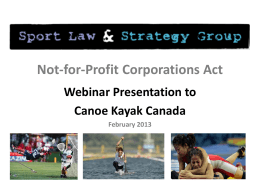 NFP Act Webinar PPT - Sport Law & Strategy Group