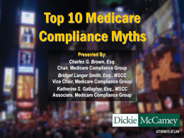 Top 10 Medicare Compliance Myths - National Council of Self Insurers