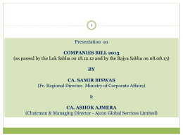 Presentation on Companies Bill - Ajcon Global Services Limited