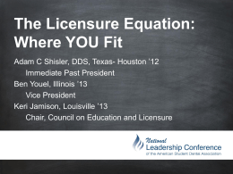 The Licensure Equation - American Student Dental Association