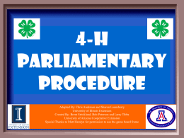 4-H Parliamentary Procedure Game - University of Illinois Extension