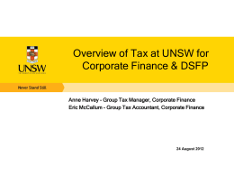 UNSW Tax Overview