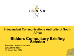 Briefing session presentation for ICASA 27