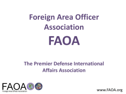FAOA The Premier Defense International Affairs Association