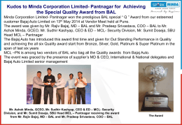"MCL-Pantnagar won BAL special "" Q "" Award from Bajaj Auto Limited"