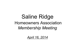 2014 Annual Meeting - Saline Ridge Homeowners Association