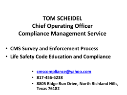 TOM SCHEIDEL Chief Operating Officer Compliance Management
