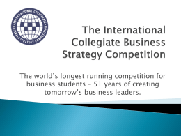 2015 ICBSC Presentation Slides - International Collegiate Business