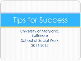 SGA Tips for Success - University of Maryland School of Social Work