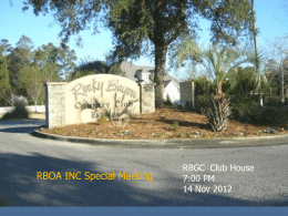 RBOA ANNUAL MEETING AGENDA
