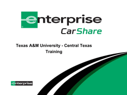Carshare training presentation - Texas A&M University