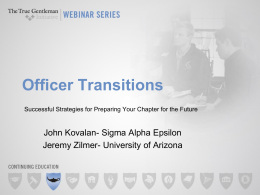 SAE Officer Transition Webinar Presentation