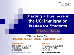Starting a Business in the US - Klasko, Rulon, Stock & Seltzer, LLP