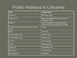 Celebrations in Lithuania (ppt