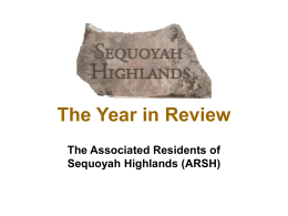 The Year in Review - Associated Residents of Sequoyah Highlands