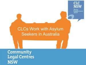 CLCs` work with Asylum Seekers & Refugees in Australia