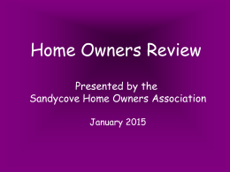 A YEAR IN REVIEW 2014-15 - Sandycove Home Owners Association