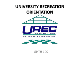 UNIVERSITY RECREATION - GHTH 100: Personal Wellness