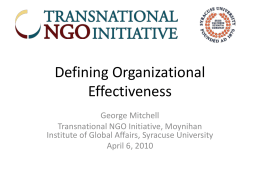 Defining and Measuring Nonprofit Effectiveness
