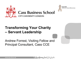 Transforming Your Charity – Servant Leadership Aims