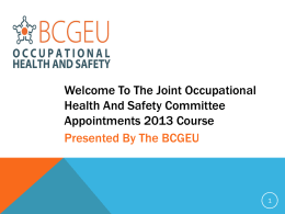 The Joint Occupational Health And Safety Committee