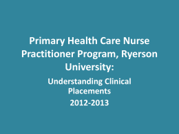Primary Health Care Nurse Practitioner Program, Ryerson University