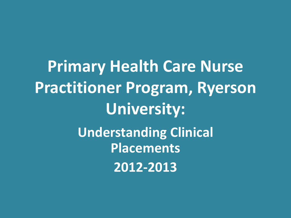 Primary Health Care Nurse Practitioner Program, Ryerson