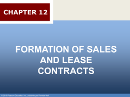 Chapter 019 - Formation of Sales & Lease Contracts