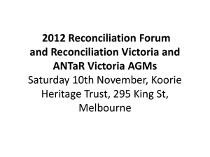 2012 Reconciliation Forum and Reconciliation Victoria and ANTaR