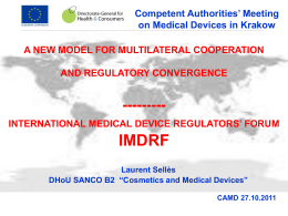 INTERNATIONAL MEDICAL DEVICE REGULATORS` FORUM