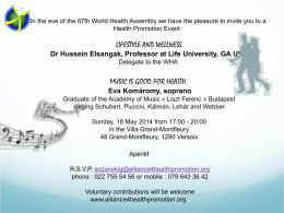 Invitation - Alliance for Health Promotion