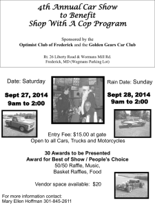Frederick Optimist Club Car Show 2014 Flier