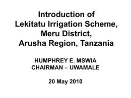 Introduction of Lekitatu Irrigation Scheme Arusha