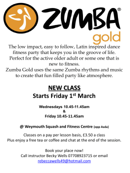 NEW CLASS Starts Friday 1 st March Wednesdays 10.45