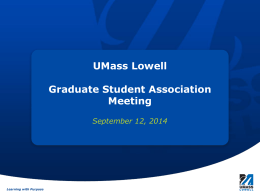 Student Activities Presentation - University of Massachusetts Lowell
