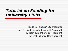 Tutorial on Funding for University Clubs - AUBG