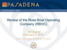 Review of the Rose Bowl Operating Company