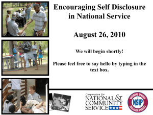 Disclosure - National Service Inclusion Project