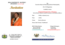Invitation to District Matric Awards