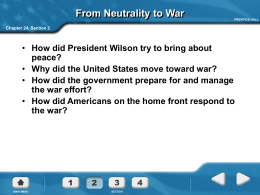 Why did the United States move toward war?