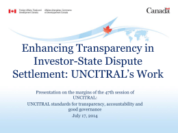 Enhancing Transparency in Investor-State Dispute