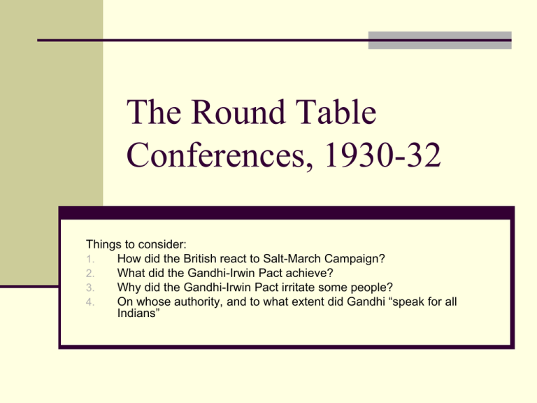 The Round Table Conferences, Explain First Round Table Conference