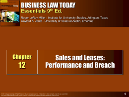 Business Law Today, Essentials, 9th Ed.
