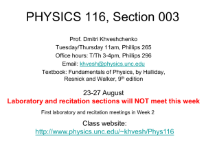 WELCOME TO PHYSICS 116!