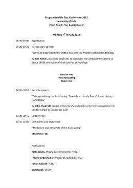 Program Middle East Conference 2012 University of Oslo Eilert