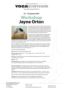 Workshop Jayne Orton - Göteborgs Yoga Centrum
