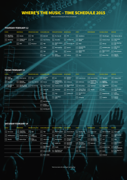 WHERE`S THE MUSIC – TIME SCHEDULE 2015